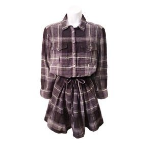 Burberry Brit Plaid Wool Button Front Shirt Dress